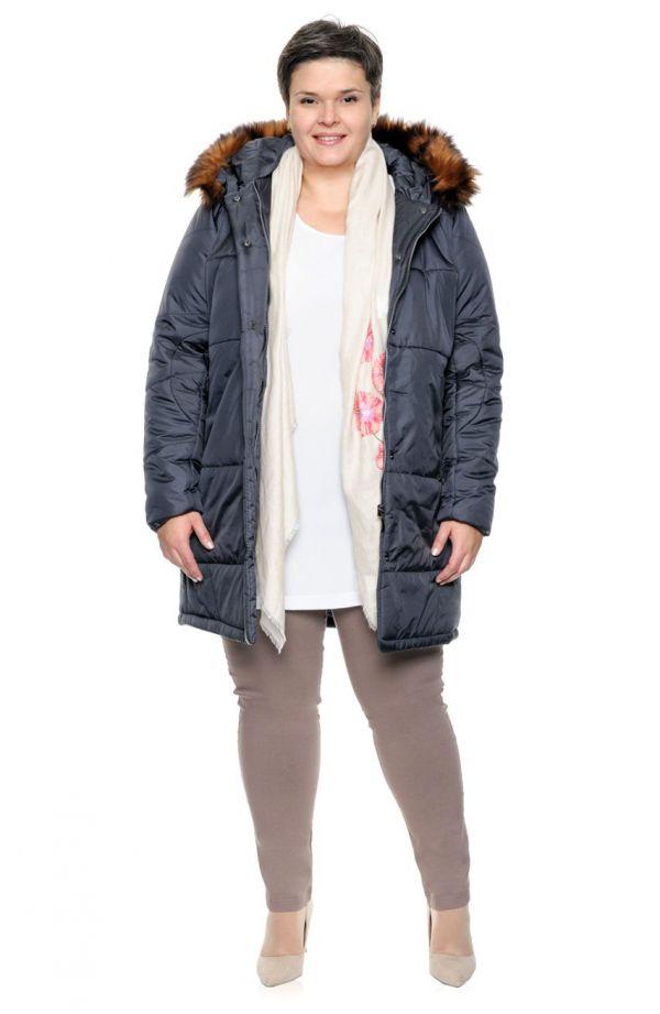 Ciepły grafitowy płaszcz z futerkiem