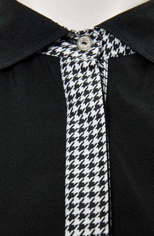 Czarna koszula w pepitkę z przeszyciami