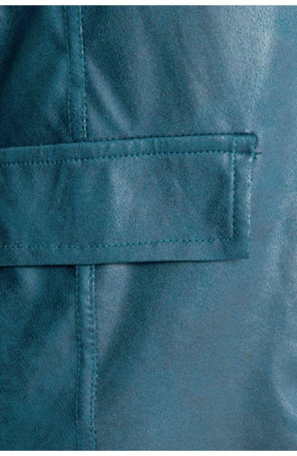 Modny turkusowy skórkowy żakiet
