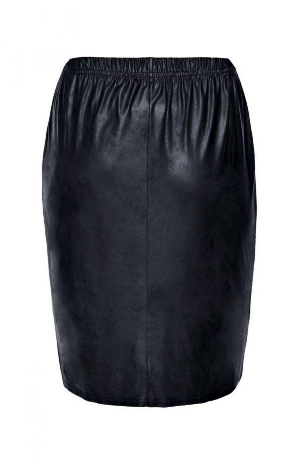 Czarna krótka skórkowa spódnica prosta