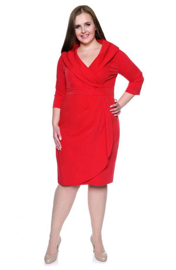 Cerwona kopertowa sukienka z szalowym dekoltem
