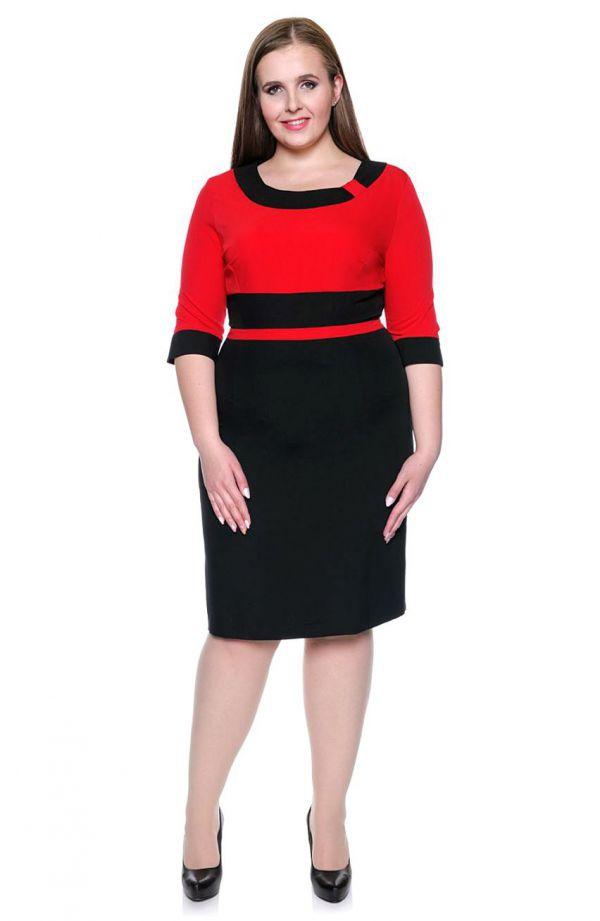 Dwukolorowa elegancka sukienka czerwono-czarna