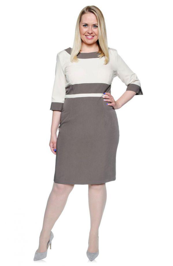 Dwukolorowa elegancka sukienka kremowo-beżowa