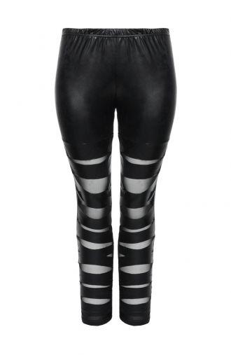 Skórkowe czarne legginsy z rozcięciami