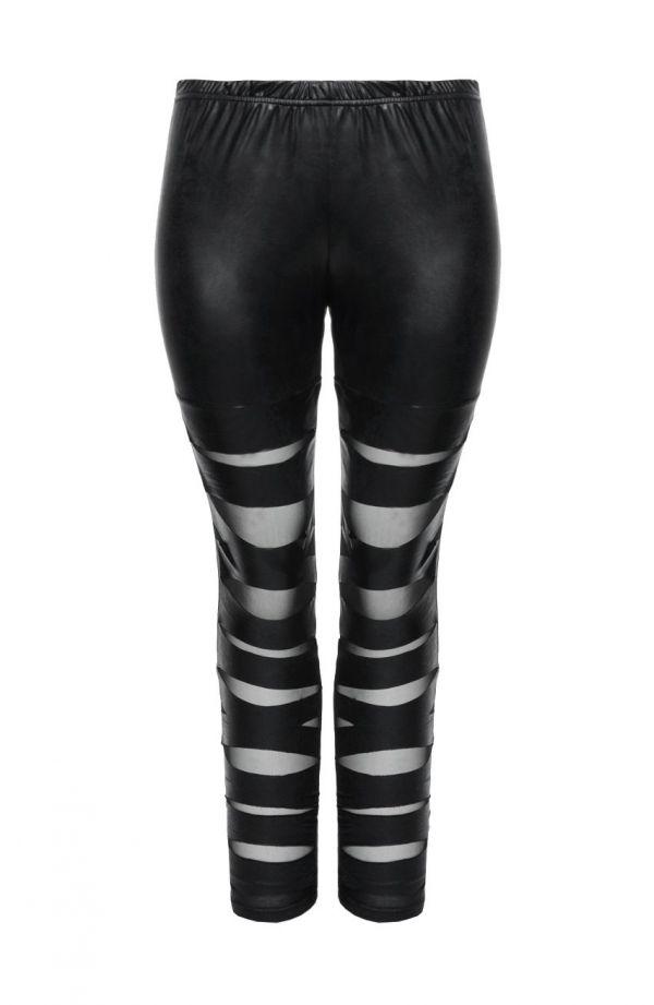 Modne skórkowe czarne legginsy z rozcięciami