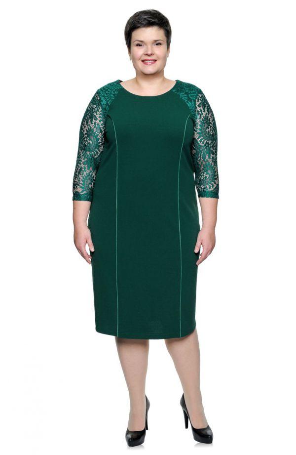 Zielona sukienka rękaw 3/4 z koronki