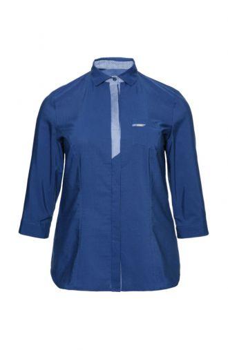 Granatowa koszula w pepitkę z kieszonką