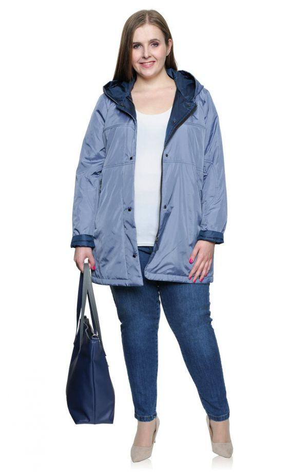 Dłuższa przejściowa kurtka w kolorze jeansu
