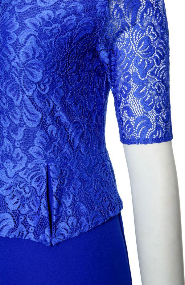 Chabrowa sukienka baskinka rękaw z koronki