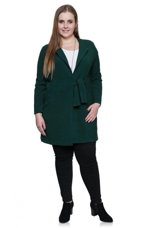 Zielony płaszczyk z wiązaniem