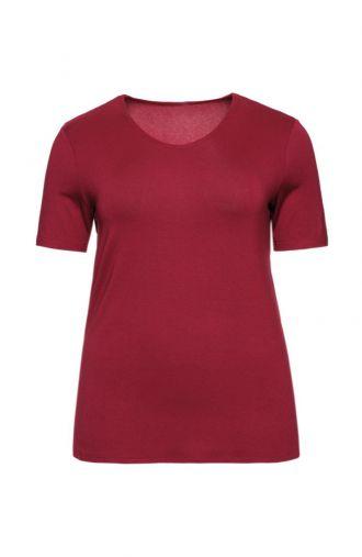 Bordowa gładka koszulka z wiskozy