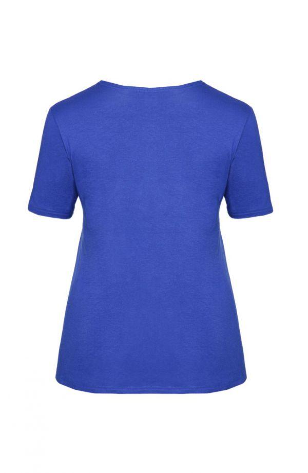 Chabrowa gładka koszulka z wiskozy