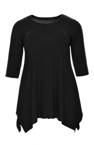 Gładka wiskozowa tunika w kolorze czerni