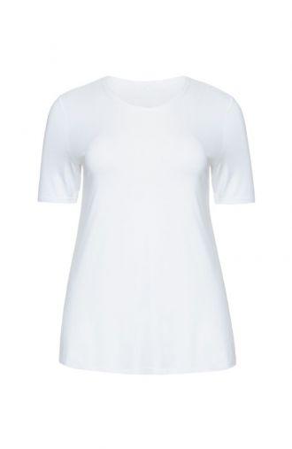 Biała gładka koszulka z wiskozy