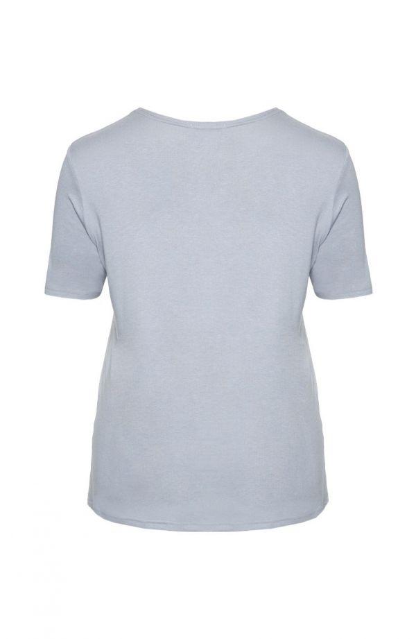 <span>Bluzki damskie duże rozmiary - j</span>asnoszara gładka koszulka z wiskozy