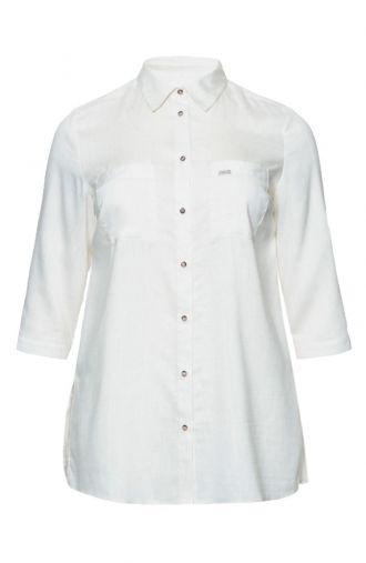 Luźna lniana koszula w kolorze kremowym