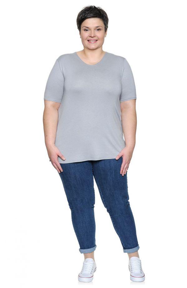 Jasnoszara gładka koszulka z wiskozy