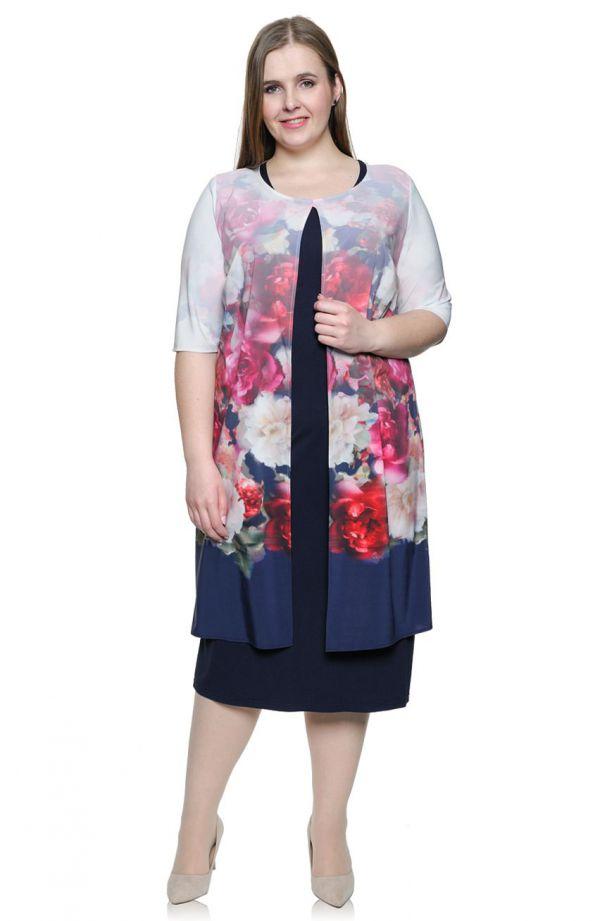 Granatowa sukienka z pastelową narzutką