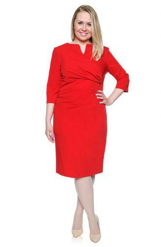 Kopertowa czerwona sukienka