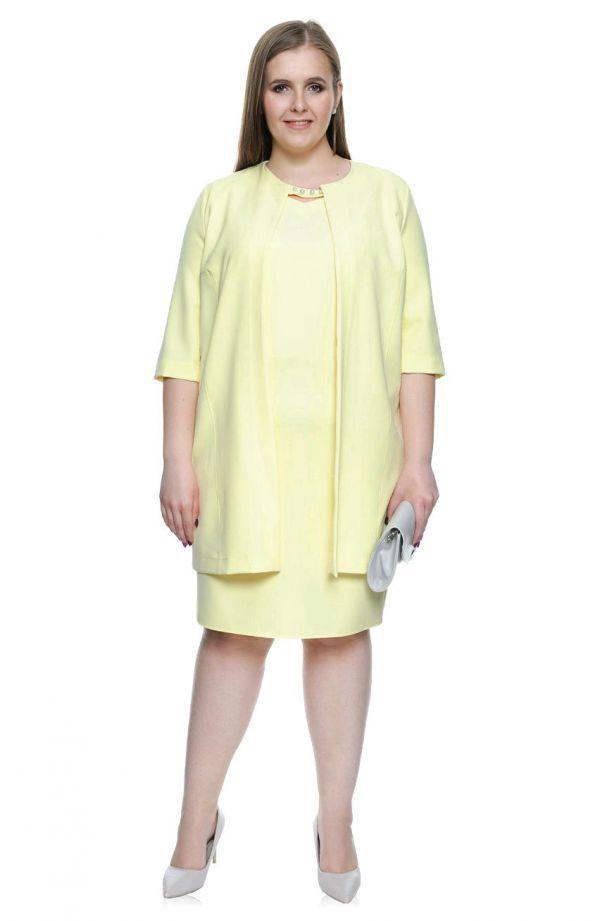 Żółty komplet sukienka + żakiet