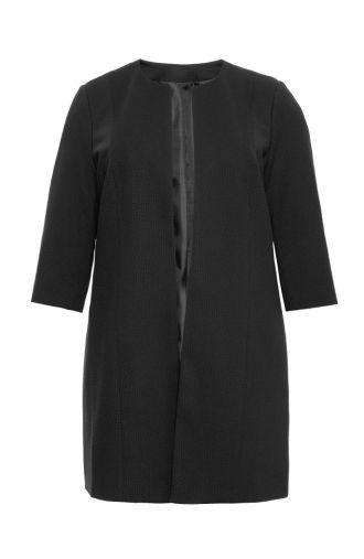 Czarny wiosenny płaszczyk z fakturowanego materiału