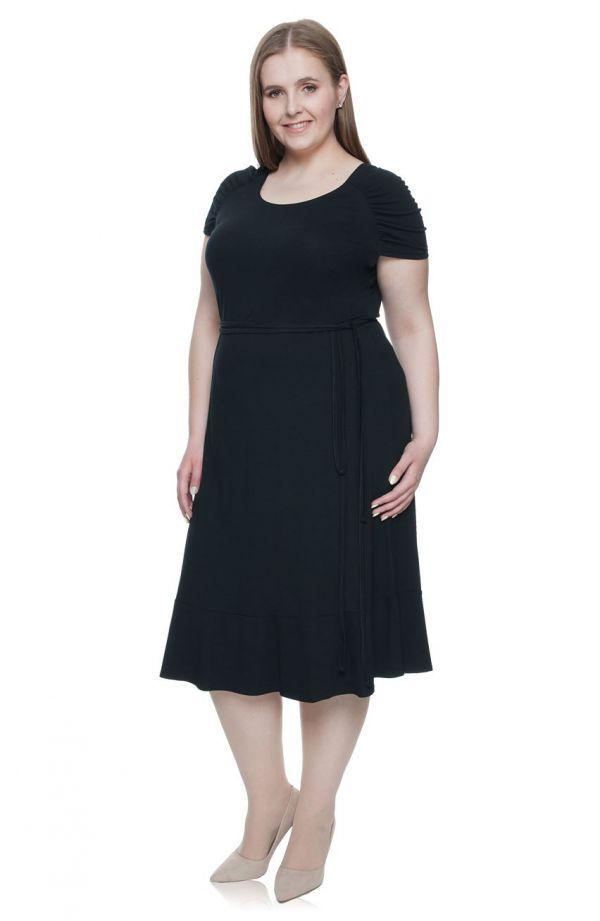 Wiskozowa lekka sukienka z wiązaniem czerń
