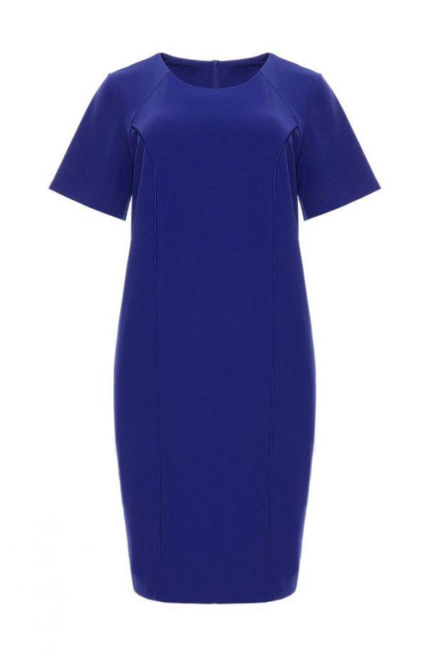Sukienka z ozdobną lamówką w chabrowym kolorze