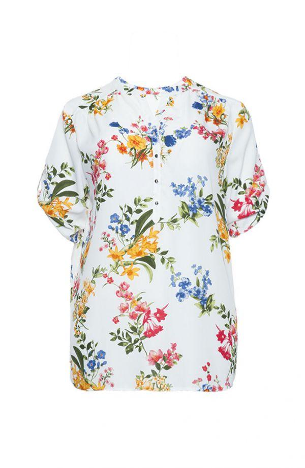 Luźna śmietankowa koszula w wielokolorowe kwiaty
