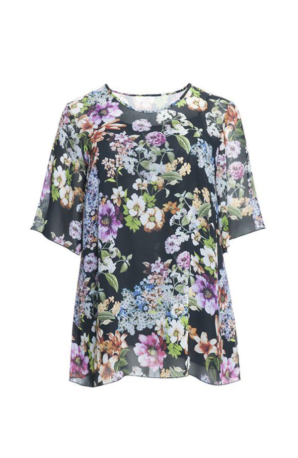 Wielokolorowa dwuczęściowa bluzka w kwiaty