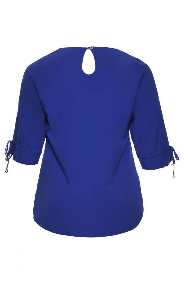 Chabrowa bluzka z wiązaniem na dekolcie