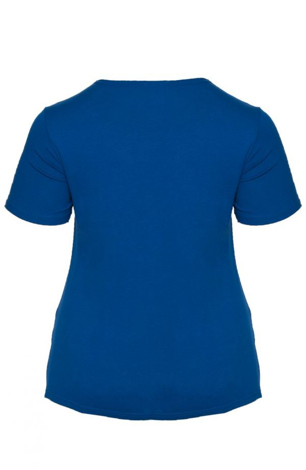 Niebieska gładka koszulka z wiskozy