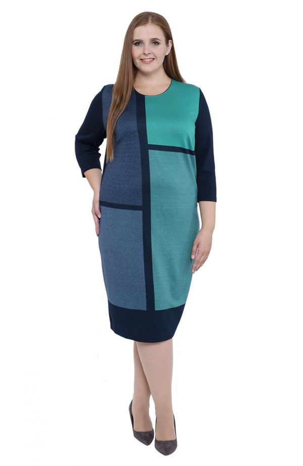 Granatowa sukienka z zielonymi wstawkami