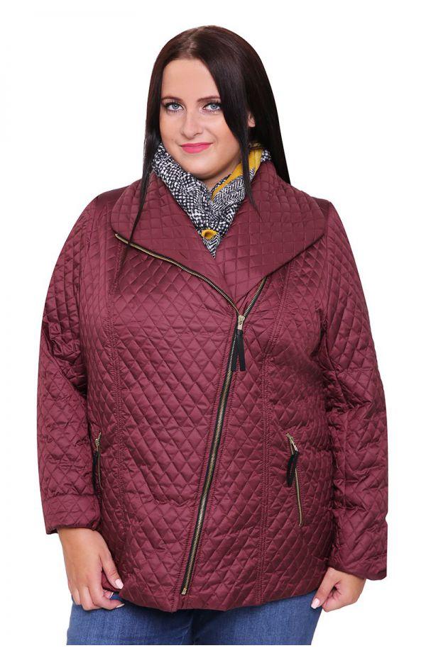 Bordowa pikowana kurtka z suwakiem