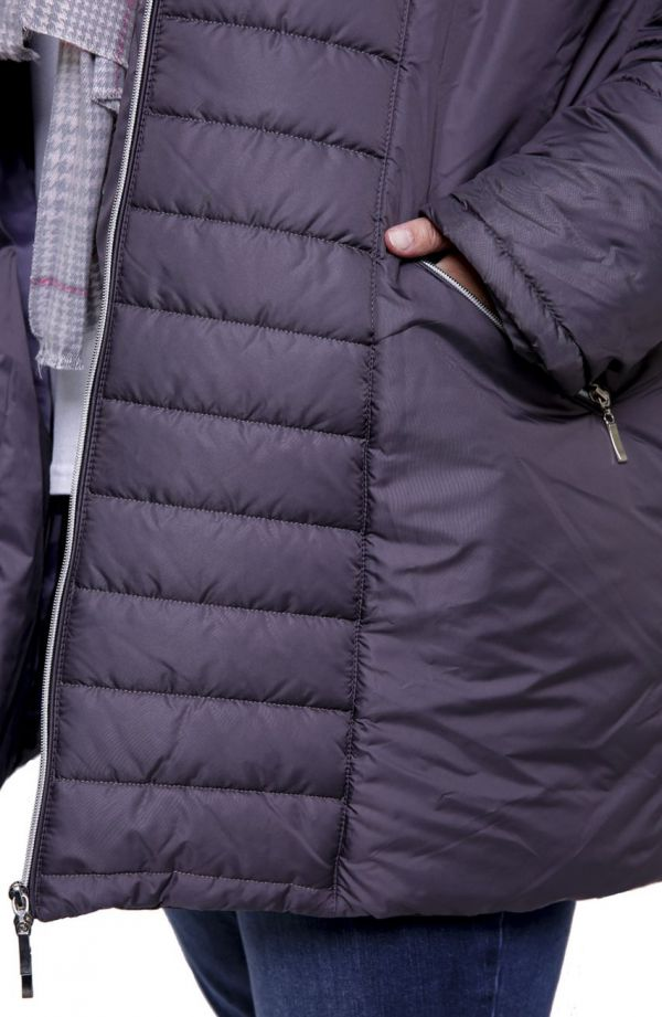Szara kurtka z futerkiem przy kapturze