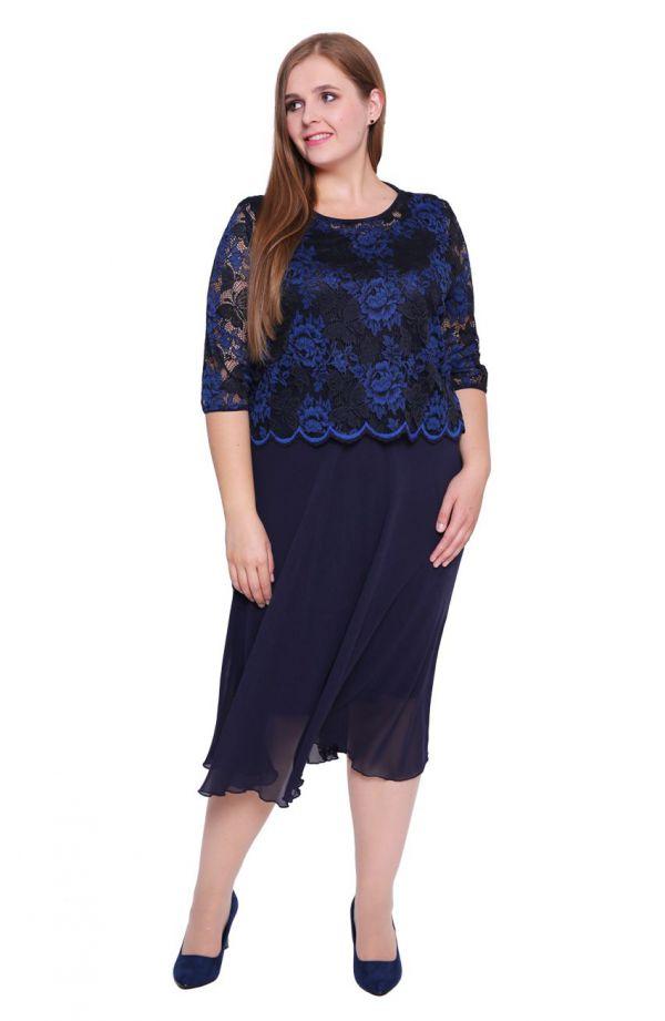 Granatowa sukienka z chabrową koronką