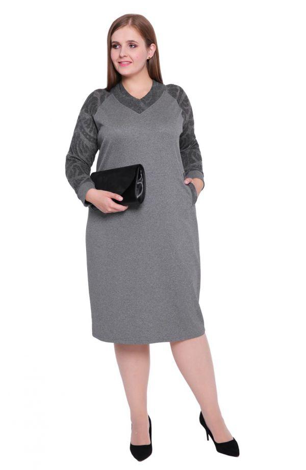 Szara sukienka z ażurowymi wykończeniami