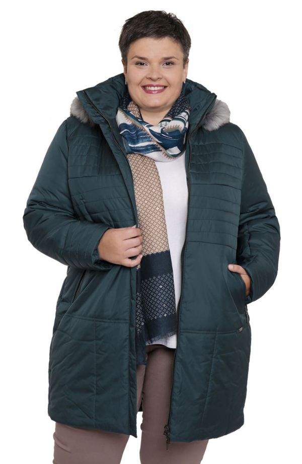 Ciepła kurtka w odcieniu morskiej zieleni