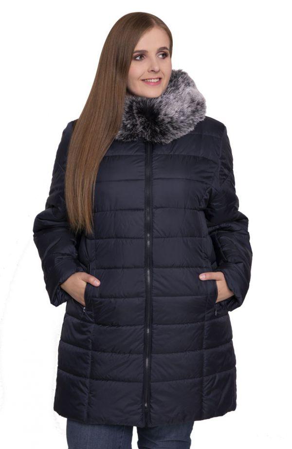 Granatowa kurtka z futerkowym kołnierzem