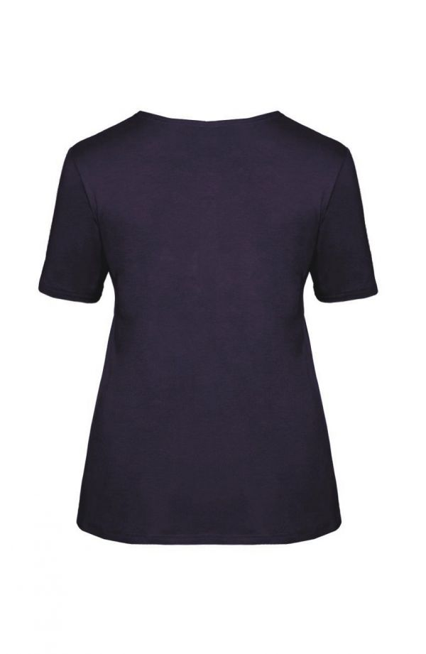 Granatowa gładka koszulka z wiskozy