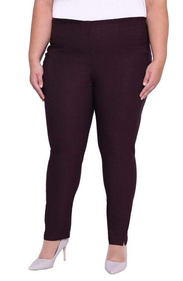 Lekko zwężane spodnie w kolorze bakłażanowym