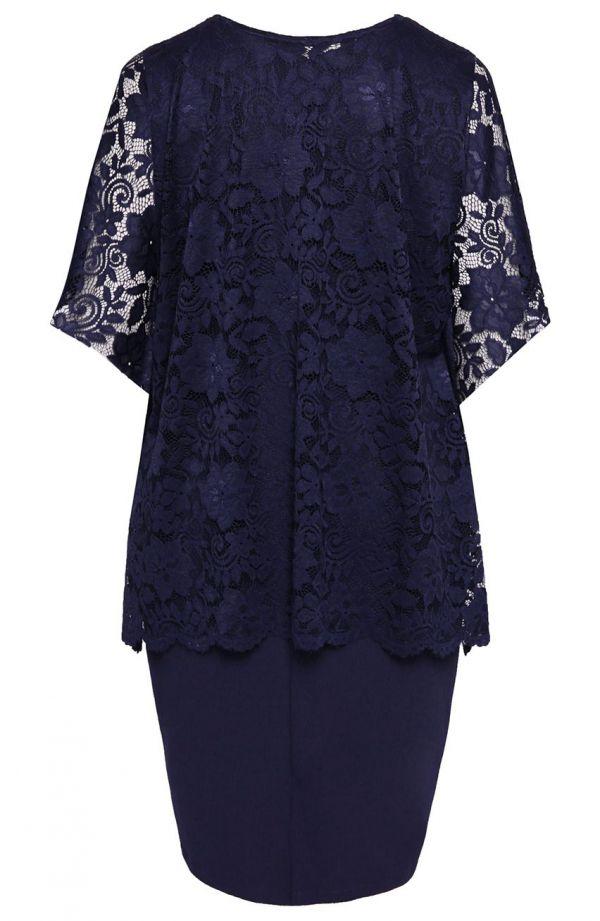Granatowa sukienka z koronkową narzutką