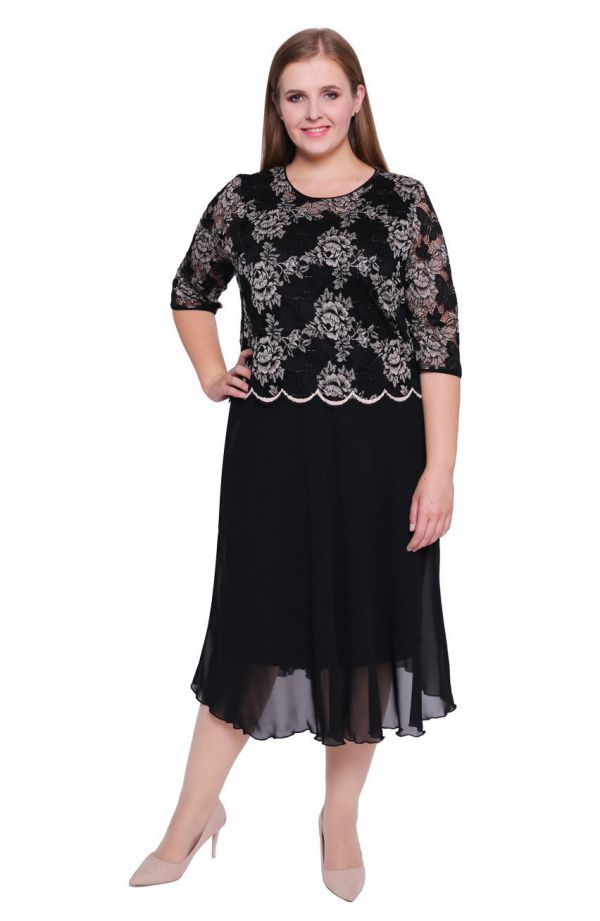 Czarna szyfonowa sukienka z koronką
