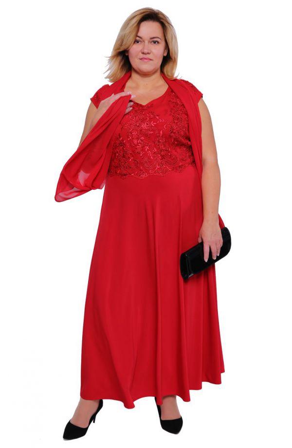 Długa czerwona suknia ozdobiona cekinami