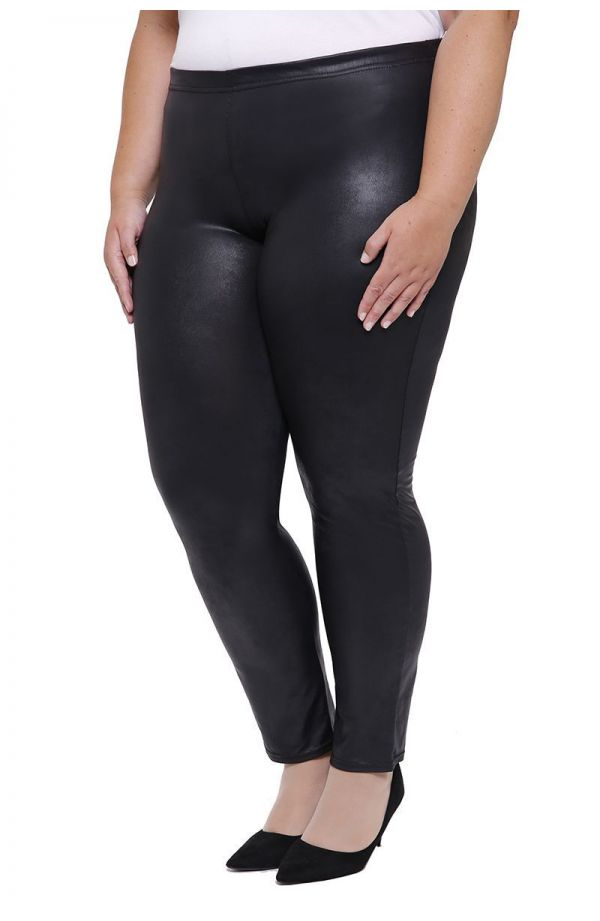 Czarne skórkowe gładkie legginsy