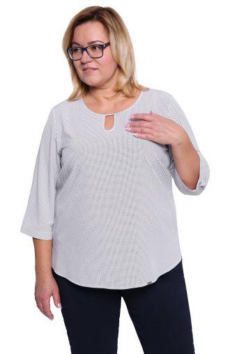 Biała bluzka w czarne kropeczki