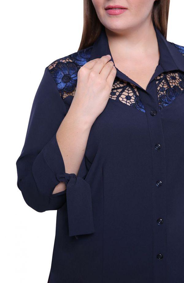 Granatowa koszula z chabrową koronką