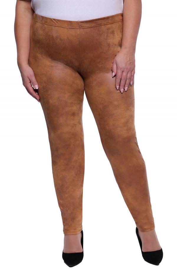 Karmelowe skórkowe gładkie legginsy