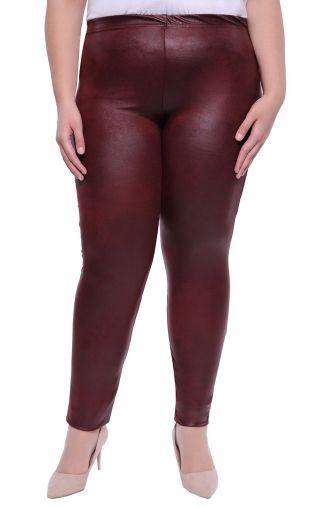 Bordowe skórkowe gładkie legginsy