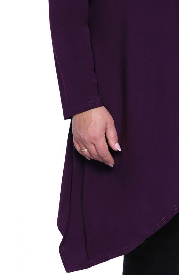 Fioletowa narzutka z przedłużanymi bokami