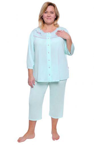 Miętowa piżama z ozdobnym haftem Mewa